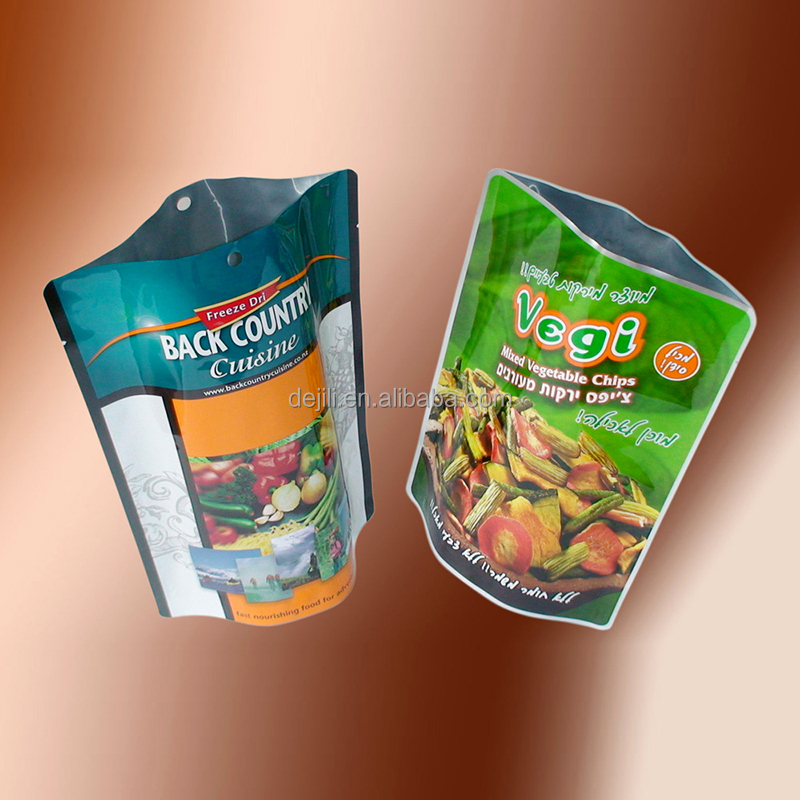 heat seal stand up pouch plastic bottom gusset pickles/brined vegetables packaging bag with customized printing and hanger hole