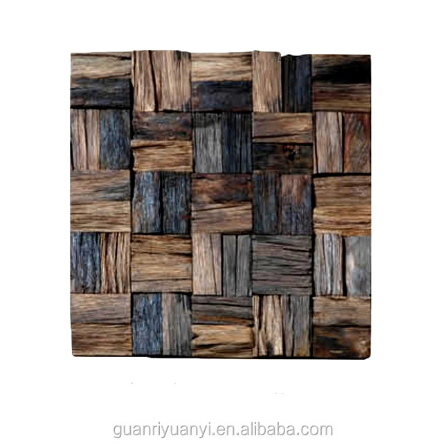 Square surface recycled wood wall mosaic tile
