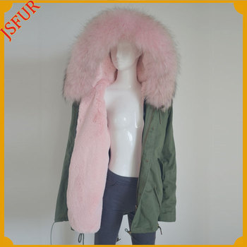 Factory Wholesale Pink Color Fur Winter Coat Green Parka For Women