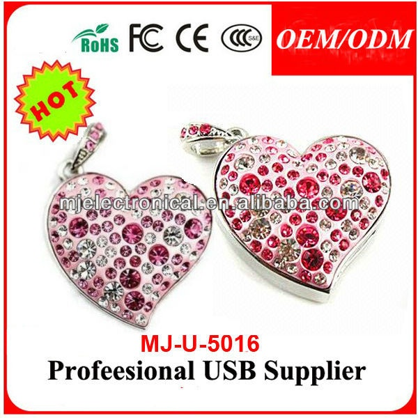 Full Capacity Jewelry Crystal Gold/Silver Diamond pink heart USB 2.0 Flash Memory Pen Drive