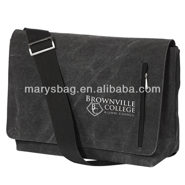 Classic Canvas Messenger Bag features your embroidered logo