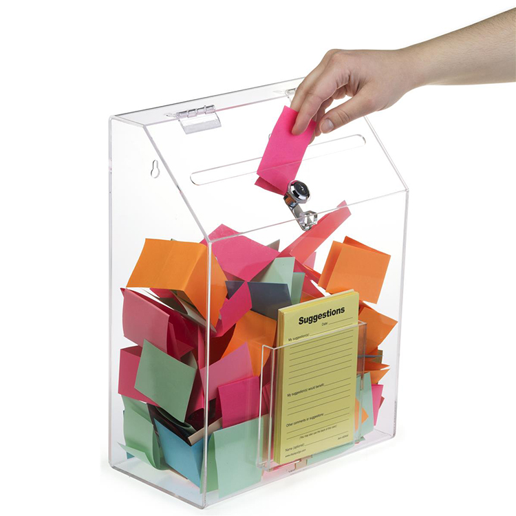 Wholesale Wall Mount or Table Top Lockable Clear Acrylic Suggetion Box