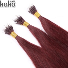 Long lasting brazil human hair extensions straight 24 inch remy nano ring hair