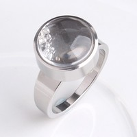Transparent acrylic small ball bead 316L Stainless Steel wedding rings for men women wholesale