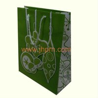Flower printed shopping paper bags with long rope handle