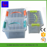 Unique Shape Plastic Transparent Square Plastic Storage Box With Handle And Lid