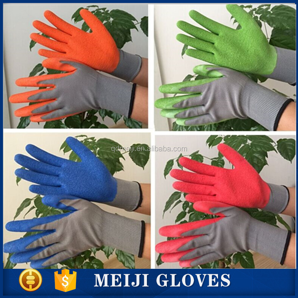 latex coated safety working nylon garden glove latex coated work gloves 13g