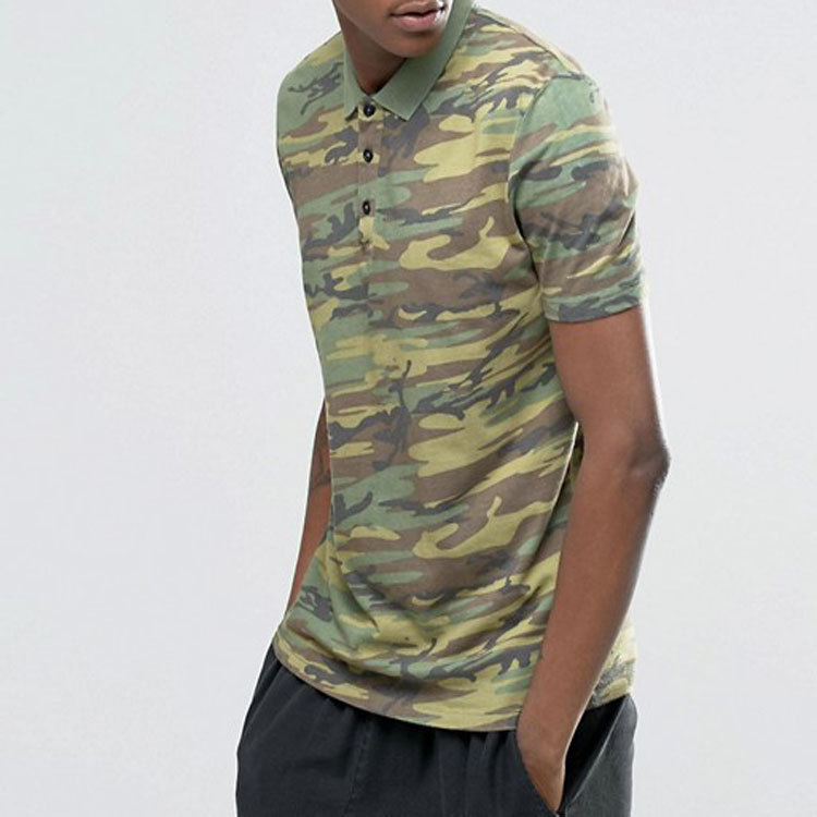 Online Shopping India Men Clothing 100% Cotton Camo Fabric Custom Brand Men Short Sleeve Polo Shirt