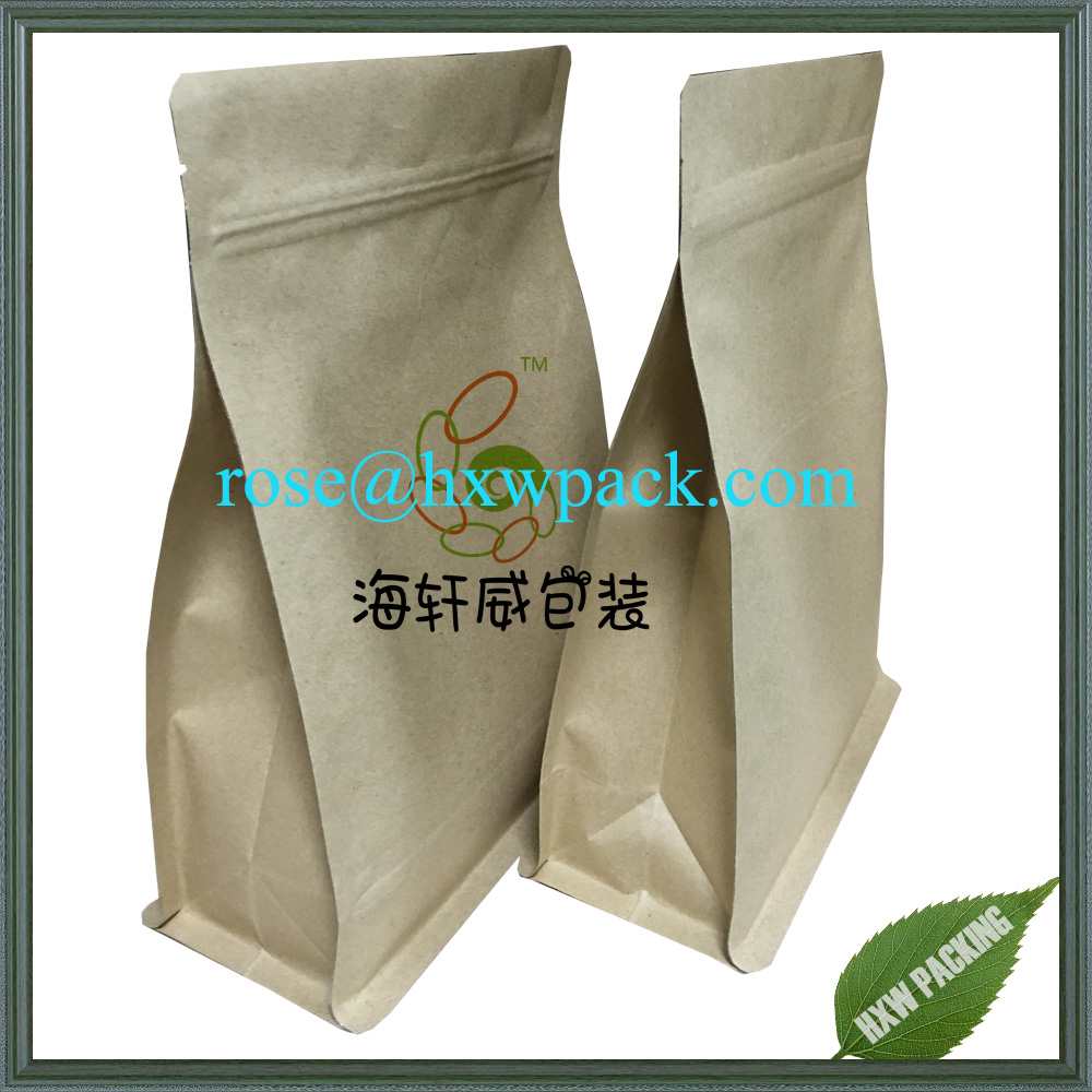 Flat bottom resealable biodegradable kraft paper material plastic coffee bag with valve for coffee packing