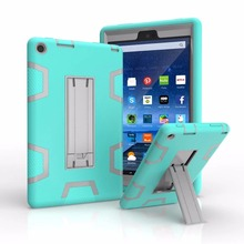 Contrast color With stand 3in1 TPU + PC hard Strong Combo back shell Shockproof Case for AMAZON New fire HD 8 2016 tablet Cover