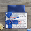 Customized Navy Blue Wedding Invitation Card With Ribbon