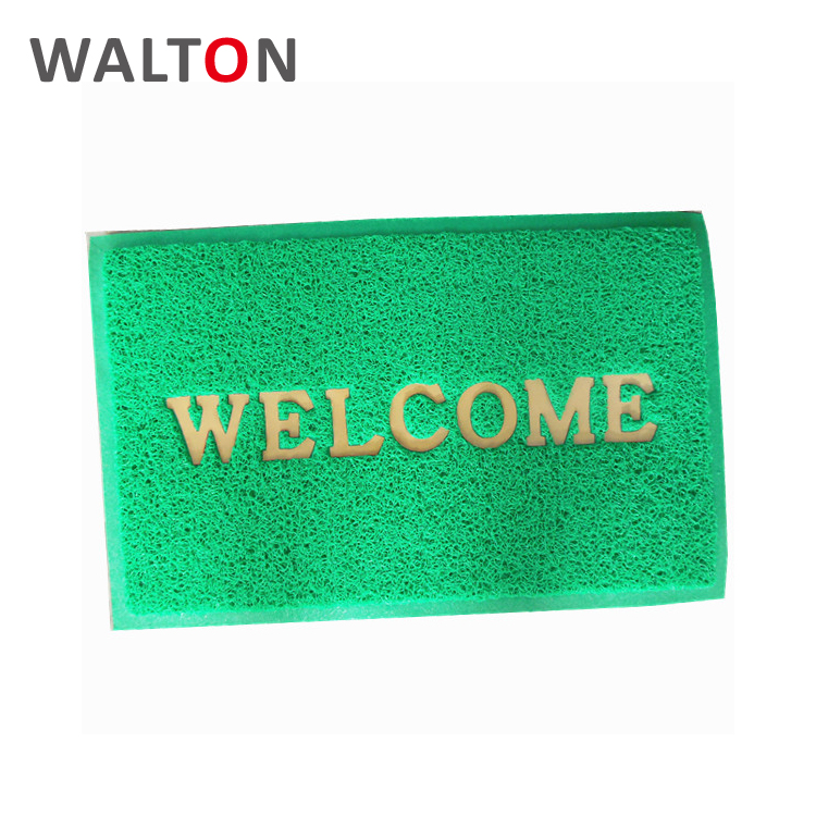 Dustproof easy to clean pvc green welcome mat custom