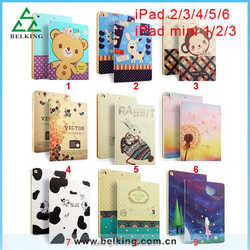 Cartoon rabbit animal leather case for ipad mini/2/3/4/5/6, for ipad tablet case