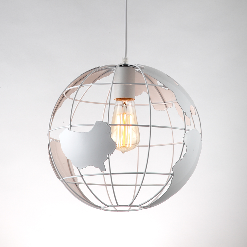 Art Deco globe black white modern pendant Lamp iron cage Loft E27 cord Lights for home decoration
