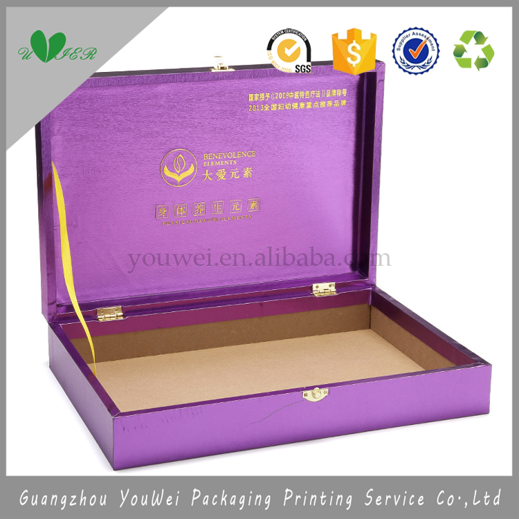 guangzhou cheap purple Breast products cardboard box with lock,OEM custom design anti fatigue hair enhancement paper package