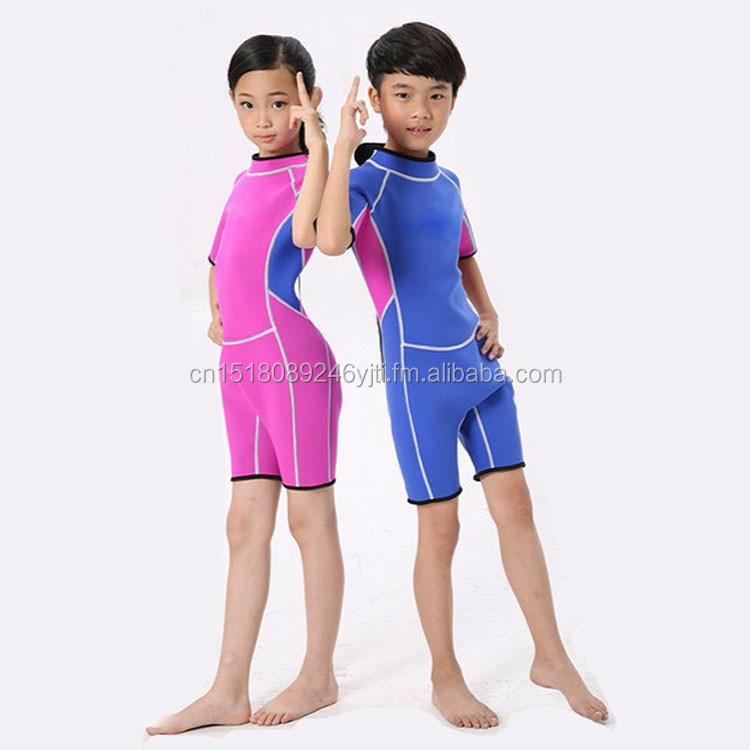 kids wetsuits short leg scuba dive swimming suit pink blue (6).jpg