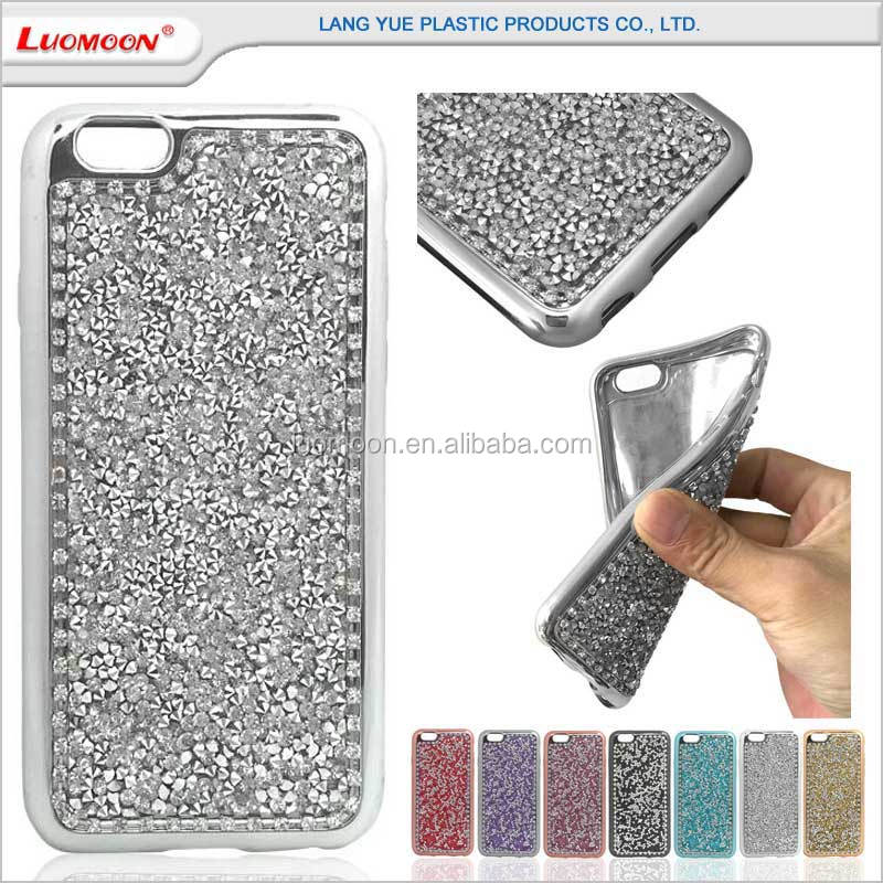 Plating Tpu Bumper Mobile Bling Diamond Back Cover Phone Case For Iphone 6 6s Plus