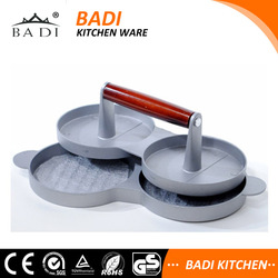 aluminum die casting wooden handle LFGB meat pizza stuffed hamburger patty maker with wax disc paper