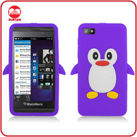 High Quality Soft 3D Penguin Silicone Gel Cute Case for Blackberry Z10