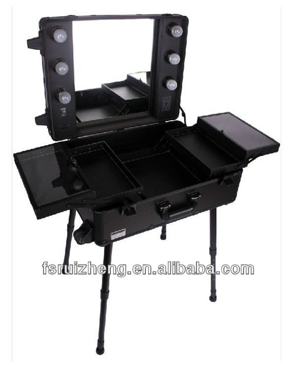 Large Capacity Black Cosmetic Travel Trollely Case with LED Light & Wheels & Mirror, RZ-ATC03