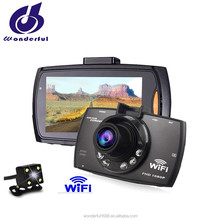 cheapest 2.7 inch 1080p dual lens car dashboard camera with WiFi factory supply made in China