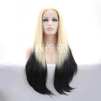 new arrive high quality wig blonde to black ombre wig synthetic lace front wig heat resistant