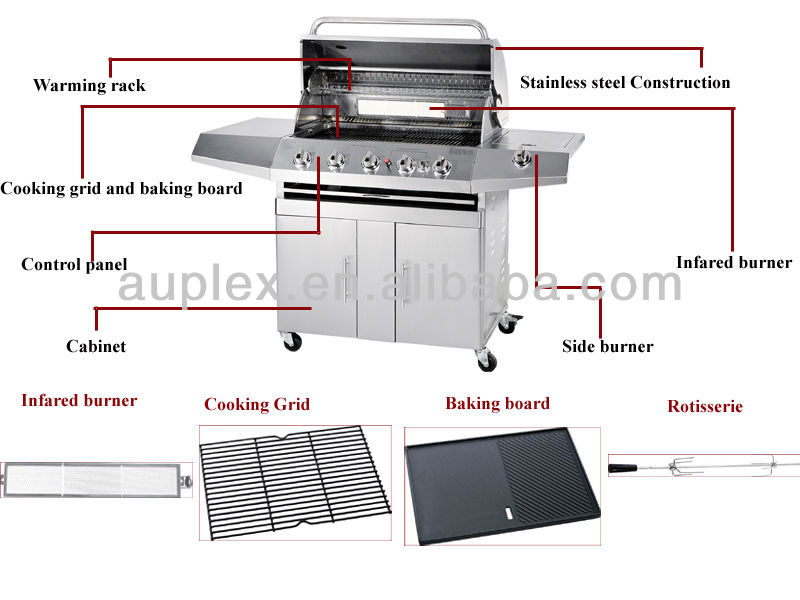 5 Burners gas grill with back burner