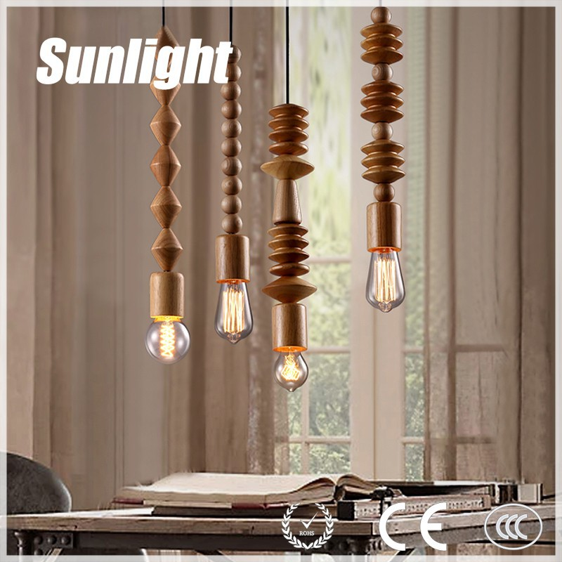 Industrial simple retro light vintage chandelier light wooden bead pendant lamp for pub/ canteen/hotel/home designer