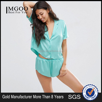 Summer Nightwear Women Sexy Nightgown Pyjamas Short Sleeve Silk Stain Comfortable Blue Sleepwear With Top And Short Set