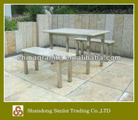 outdoor stone table and bench furniture set