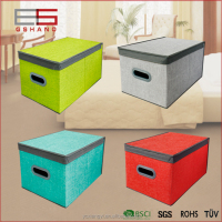 Colorful Durable Linen-like Fabric Collapsible Cardboard Storage Box