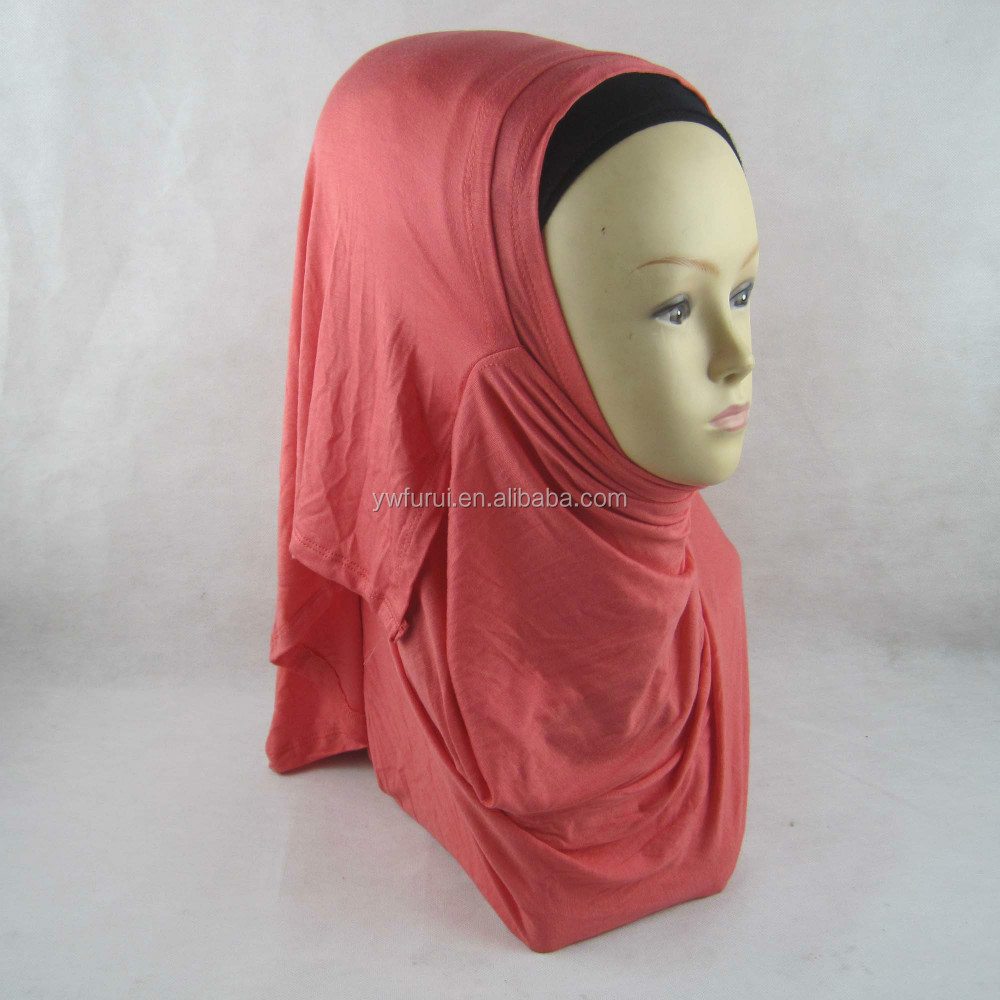 Wholesale Muslim Plain Jersey Hijab 2 Face Instant Shawl Slips On Scarves Large Size Double Loop Scarf