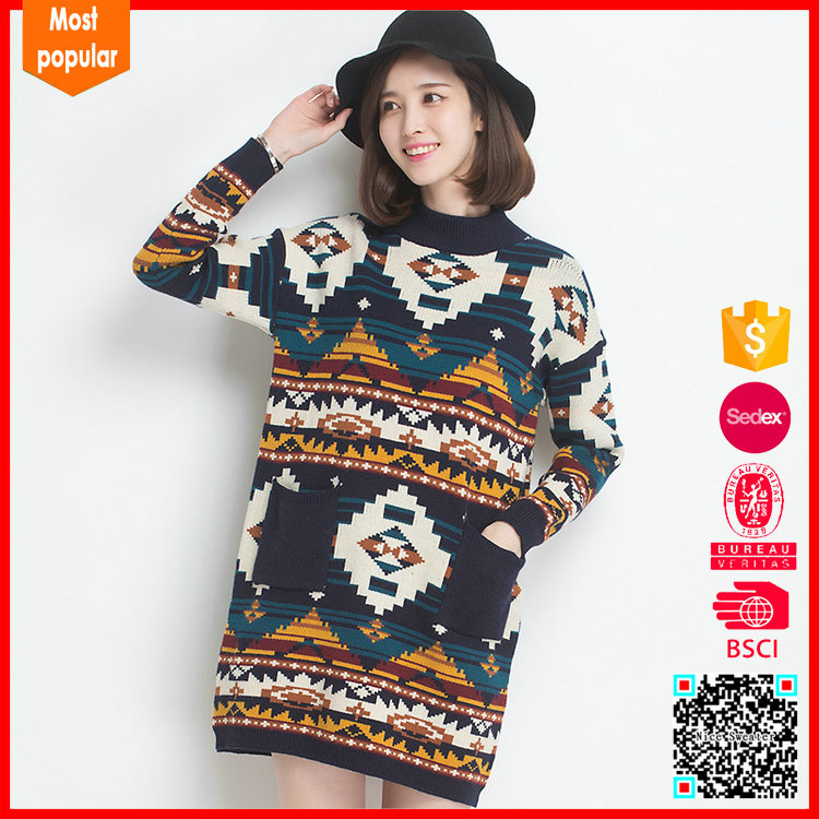 Most Popular fancy contrast color new woolen sweater designs for ladies