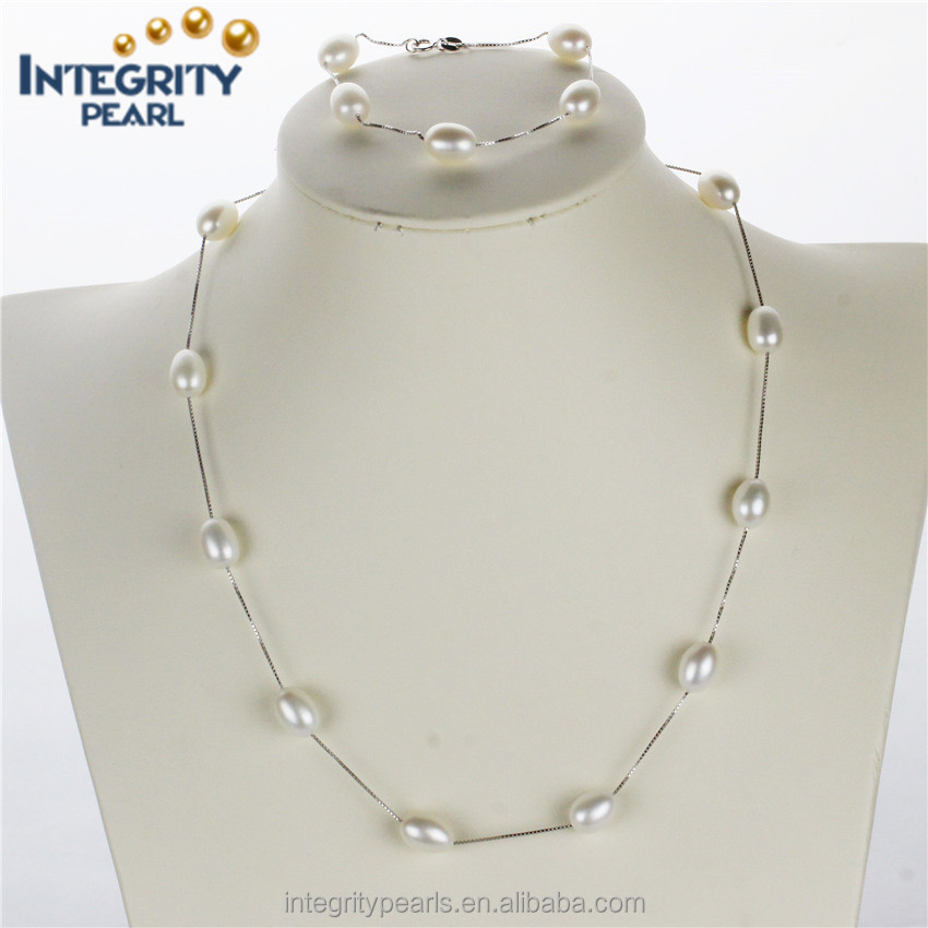 aaa new design pearl set 8mm drop sterling pearl set