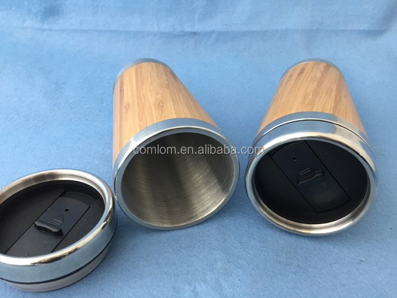 400ml bamboo outer with stainless steel inside auto mug