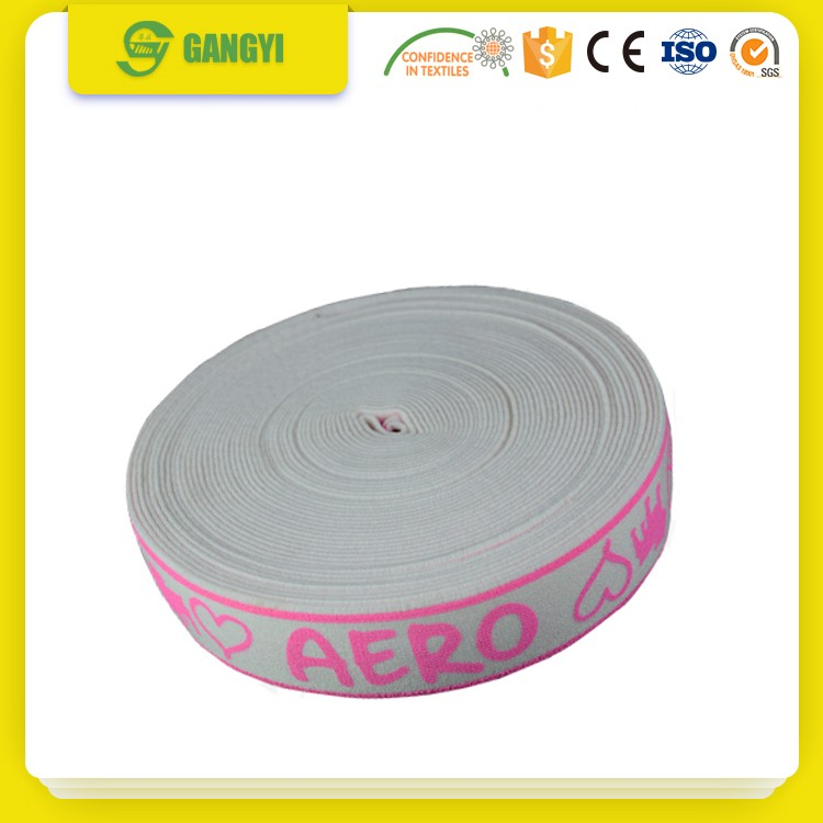 Black grip custom logo silicone printing knitted non-slip polyester elastic webbing
