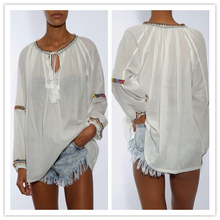 Plus Sizes boho style 100% Cotton Long Sleeve White Embroidered Peasant lace-up loose Women Blouse