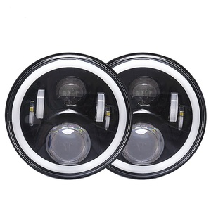 IP 68 Waterproof 7 inch round led headlight halo ring & amber for Jeep Wrangler with Angel Eyes