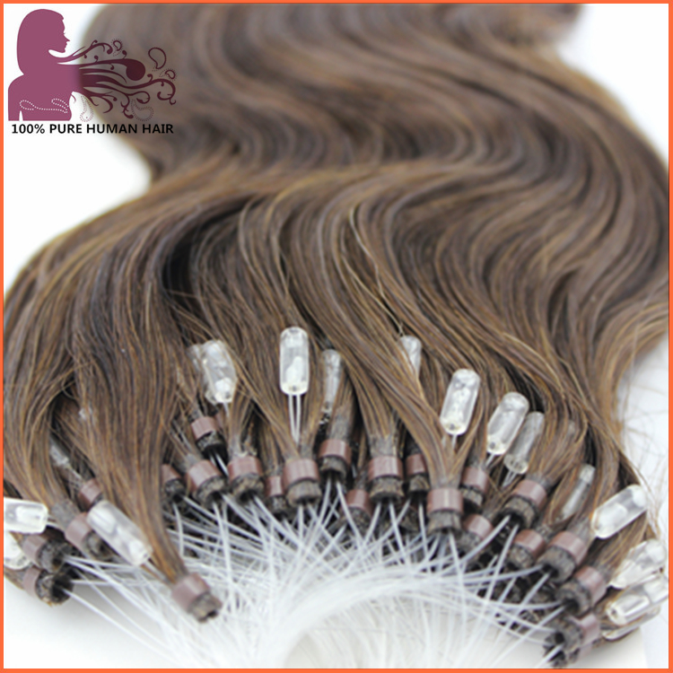 Factory OEM 10 to 30 inch high quality double drawn 100% human hair micro bead human hair extensions
