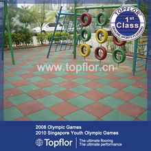 Interlocking rubber floor tiles for public place