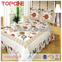 Pretty decor plain design cheap flowers printed bedspreads