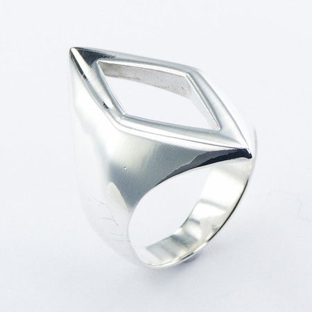 Simplistic Open Diamond Shaped Sterling Silver Ring Design