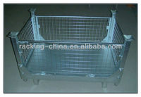 Folding Wire Mesh Containers/ Metal Basket/Stackable Storage Cage