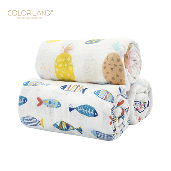 COLORLAND soft breathable baby blanket swaddle muslin blanket as burping cloth & stroller cover