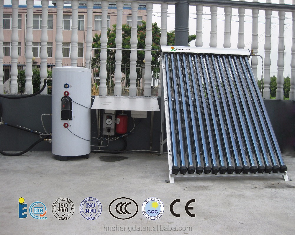 high pressurized split solar hot water heater with heat pipe evacuated tube collector