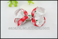 Red and white printed hair bow for 2015 Christmas