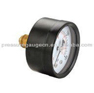 Black steel case miniature bourdon tube pressure gauge