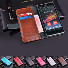 Crazy horse wallet shockproof case for sony xperia z l36h