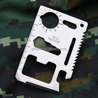 11-Function Stainless Steel Credit Card Size Survival Pocket Tool