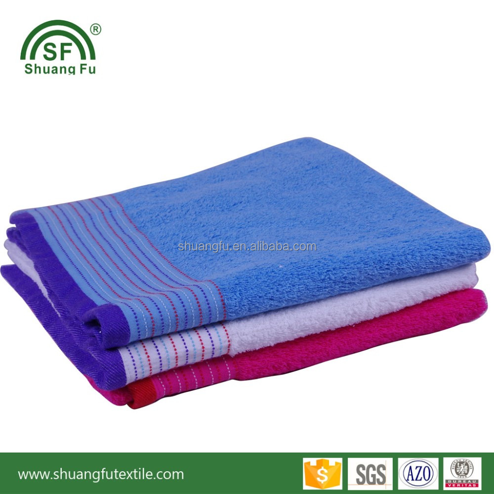 100% Cotton Combing cut pile jacquard weave dobby border bath towel wholesale